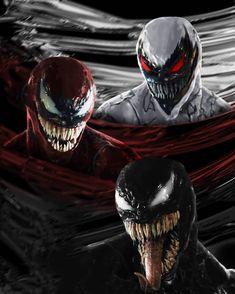 Venom, Carnage & Anti-Venom from Marvel Venom Comics, Marvel Dc Comics, Marvel Villains, Marvel Comic Universe, Marvel Vs, Marvel Heroes, Marvel Characters, Dc Universe, Spiderman Kunst