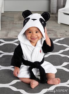 """Our delightful panda hooded bath robe for baby makes tub time """"zoo-per"""" fun! 