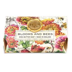 Blooms and Bees bath bar soap, by Michel Design Works. Handmade Soap Packaging, Large Baths, Shea Butter Soap, Bath And Bodyworks, Solid Perfume, Bath Soap, Soap Making, Bloom, Pure Products
