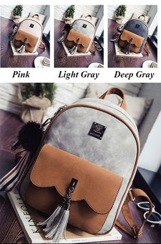 Cheap Leisure Tassel Splicing School Backpack Contrast Color Frosted Girl's Backpack For Big Sale! Lace Backpack, Canvas Backpack, Backpack Bags, Leather Backpack, Cute Backpacks, Girl Backpacks, School Backpacks, Look Fashion, Fashion Bags