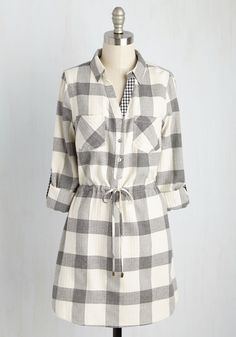 Foodie Festival Dress. Taste your way around the world in this cotton shirt dress! #grey #modcloth