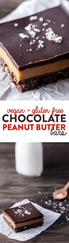 Crisp chocolate crust, creamy peanut butter and a layer of dark chocolate. And, because of the good-for-you ingredients (no flour or added refined sugar), only you'll know they're not as naughty as they seem! Vegan & Gluten Free.
