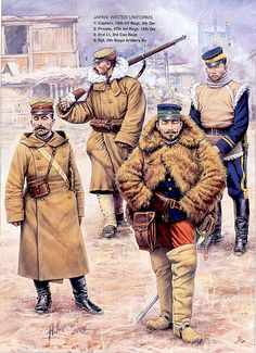 artwork of the russian illustrator Andrei Karachtchouk showing japanese army officers and soldiers using winter uniforms during the russo-japanese war, the conflit that made japan an undisputed power in the far east.
