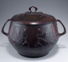 German Art Nouveau punch bowl, c. 1900, two-tone patinated copper with stylized branches, Munich, attributed to Hans Eduard von Berlepsch-Valendàs, H. 35 cm.     SOLD 300 EUR