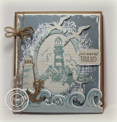 Love the inked wave like splashes around the image and the fab diecut elements on this lovely cameo blue palette card. Masculine Birthday Cards, Masculine Cards, Nautical Cards, Beach Cards, Sea Theme, Beautiful Handmade Cards, Fathers Day Cards, Marianne Design, Heartfelt Creations