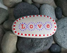 Love Rock Stone Paperweight by InnerSasa on Etsy