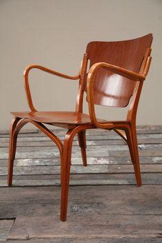 Carl Axel Acking (Sweden)     Beautiful, rare, bentwood chair designed in 1944 for Svenska Mobelfarikerna, Bodafors, Sweden.