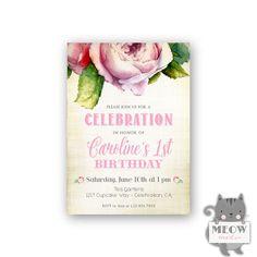 Shabby Chic 1st Birthday Invitations for Girls / Kid's