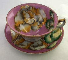 Occupied Japan Tea Cup Pink White Gold Green