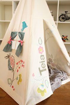 Bespoke Moozle teepee tent. moozlehome.com Appliqued with Osborne and Little fabric. #osborneandlittle #teepee #kidsteepeetent #tipi #wigwam