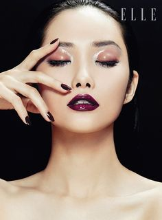 Love the dark lips paired with a wet eye! Kwak Ji Young Poses for Zhang Jingna in Elle Vietnam Beauty Feature #makeup #dark lips