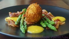 Asparagus with Crispy Egg and Pancetta - A Cookbook Collection A beautiful starter or light lunch, served with orange hollandaise #asparagus #bacon #pancetta #crispyegg #hollandaise