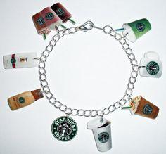 Starbucks Charm Bracelet - Coffee, Frappuccino, Tea, Mug on Etsy, $20.50