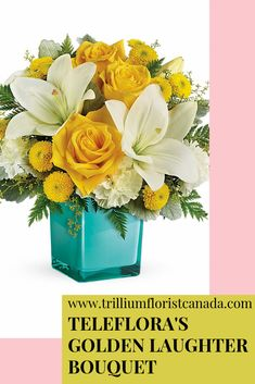 Inspired by the sunny sound of children's laughter, this lighthearted bouquet of golden roses and fragrant white lilies is presented in a stunning aqua cube vase. What a stylish way to make someone smile! Fast Flowers, Summer Flowers, Golden Roses, White Lilies, Flower Delivery, Amazing Flowers, Cube, Laughter, Decorative Boxes