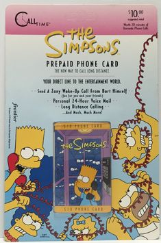 This just in at The Angry Spider Vintage Toy Store: TAS037477 - 1995 ...  Check it out here! http://theangryspider.com/products/tas037477-1995-call-time-the-simpsons-prepaid-phone-card-bart?utm_campaign=social_autopilot&utm_source=pin&utm_medium=pin
