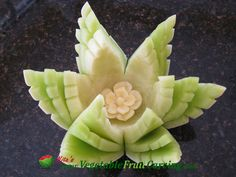 Honeydew Lotus - Taught in Nita's Vegetable and Fruit Carving 101. See more at http://www.vegetablefruitcarving.com/vegetable-and-fruit-carving-course-101/