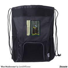 'Blue Mushrooms' Drawstring Backpack