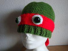 (Made by Susanne Elfrom Nguyen) Hæklet ninja turtles hue. Opskrift eget design