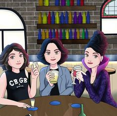 Roni, Regina, and The Evil Queen! Ouat, Once Upon A Time Funny, Once Up A Time, Regina Mills, Swan Queen, I Am A Queen, Cartoon Drawings, Cute Drawings, Series Movies