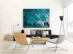 Large canvas art with birds in a livingroom. Turqouise background, 130x180cm. Found in the webshop www.desenio.se