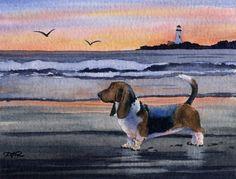 BASSET HOUND SUNSET Original Watercolor Painting by k9artgallery, $175.00