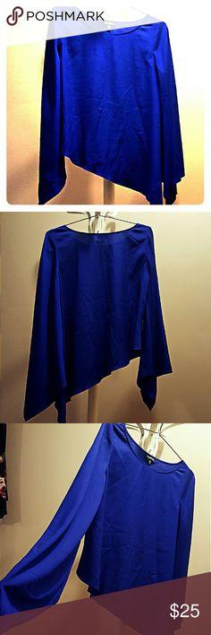 Selling this Bebe Asymmetrical Royal Blue Blouse on Poshmark! My username is: hkmscloset. #shopmycloset #poshmark #fashion #shopping #style #forsale #bebe #Tops