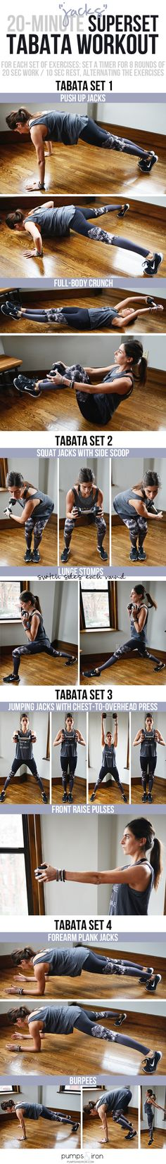 "Tabata ""Jacks"" Workout -- this tabata workout will take you 16 minutes in total. Each set of exercises includes a ""jack"" (jumping jack, plank jacks, squat jacks, etc.)"