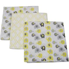 Little Bedding by NoJo Elephant Time Flannel Blanket, 3-Pack, Yellow