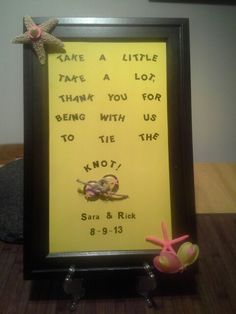 Sea Theme Table Sign; take the sign out of the frame and it becomes a dry erase board.