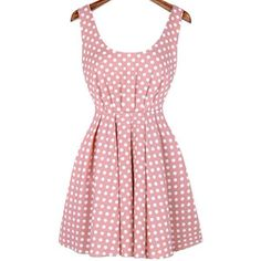 Scoop Neck Polka Dot Bow Pink Dress