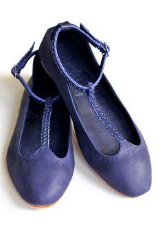 GRACE Leather ballet flats Womens flat shoes US 514 by BaliELF, $100.00