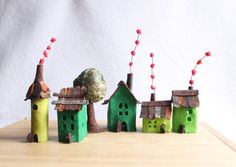 Felt houses with tree Green Village Miniature. by Intres on Etsy, $35.00