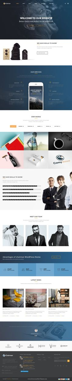 Chairman is modern and elegant Responsive Multipurpose WordPress Theme. It comes with 16 plus homepage layouts and amazing features.