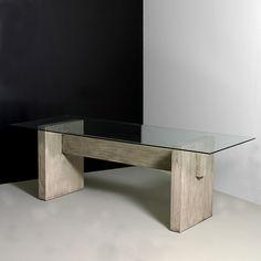 Mesa comedor cristal madera