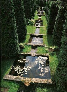 water features / koi pond in garden to bring japanese element into formal garden? Formal Gardens, Outdoor Gardens, Landscape Architecture, Landscape Design, Pond Design, Landscape Plans, The Secret Garden, Nature Aesthetic, Parcs