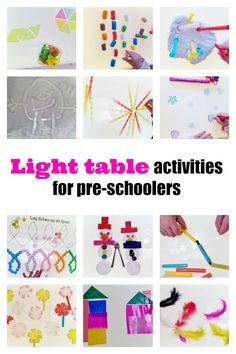 Almost 100 ideas and examples of activities to play with the light table for pre-schoolers - Mamaliefde. Fun Activities For Kids, Reggio Emilia, Sensory Play, Light Table, Fun Learning, Diy For Kids, Kids Playing, Preschool, Inspiration