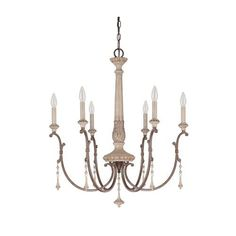 Capital Lighting Fixture Company Chateau French Oak Six Light Chandelier With Solid Wood Column On SALE