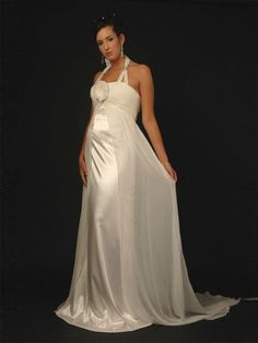 Maternity Soft Satin  Pleating and Flowers Wedding Dresse