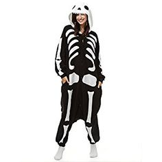 Adult Skeleton Onesie Polar Fleece Pajamas Cartoon Sleepwear Animal Halloween Cosplay Costume Unisex (XL (Height 5'10-6'1)): Amazon.co.uk: Toys & Games