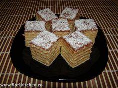 Prajitura cu crema de caramel – Flori's Kitchen Krispie Treats, Rice Krispies, Nutella, Waffles, Gem, Caramel, Sweets, Breakfast, Cake