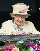 Queen Elizabeth II attends the Epsom Derby at Epsom Racecourse on June 6 2015 in Epsom England
