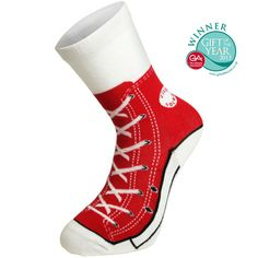 The Silly Socks Baseball Boots are sneakers that you can wear all round the house, with the added bonus of not messing up the carpet! Featuring a recognizable red printed trainer design that's complete with laces, stitching detail and realistic sole, these Silly Socks look just like the real deal. They're a hilarious gift and are sure to raise a smile wherever you decide to break them out