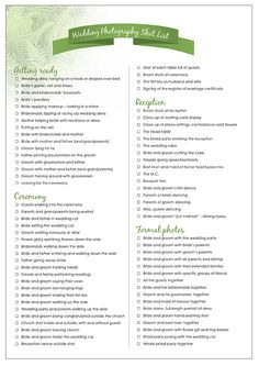 wedding photography checklist | Printable Wedding Photography Shot List