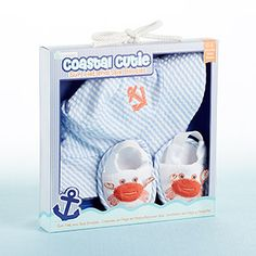 """◾Brimmed, blue-and-white-striped, seersucker sun hat with orange anchor applique and white spa booties with embroidered, orange crab appliques and striped-seersucker trim ◾Machine-washable seersucker (hat) and terrycloth (booties) ◾Gift presentation includes a beach-inspired box with clear display window, pink anchor graphic and nautical-rope bow ◾Gift box measures 9 1/4"""" square ◾Size 0-6 Months"""