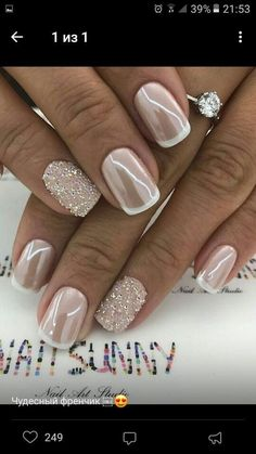 Bries wedding bries hochzeit cute nails, my nails, how to do nails, pretty Fancy Nails, Cute Nails, Pretty Nails, Hair And Nails, My Nails, Pink Nails, Bride Nails, Nail Polish, Wedding Nails Design