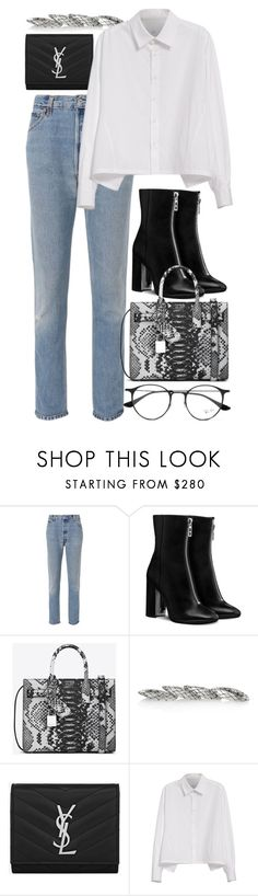 """""""Untitled #3035"""" by elenaday ❤ liked on Polyvore featuring RE/DONE, Yves Saint Laurent, Bottega Veneta, Y's by Yohji Yamamoto and Ray-Ban"""