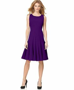 My Easter dress but the color is way more eggplant!   Calvin Klein Petite Sleeveless Seamed Dress - Women - Macy's