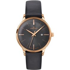 Junghans 047/7572.00 Women's Meister Date Leather Strap Watch, Black ($705) ❤ liked on Polyvore featuring jewelry, watches, polish jewelry, dial watches, leather-strap watches, quartz movement watches and pin jewelry