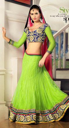 Green and Blue color Wedding Lehnga Choli-Net Lehenga Choli