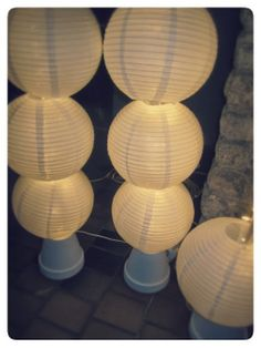 DIY light-columns with paper lanterns